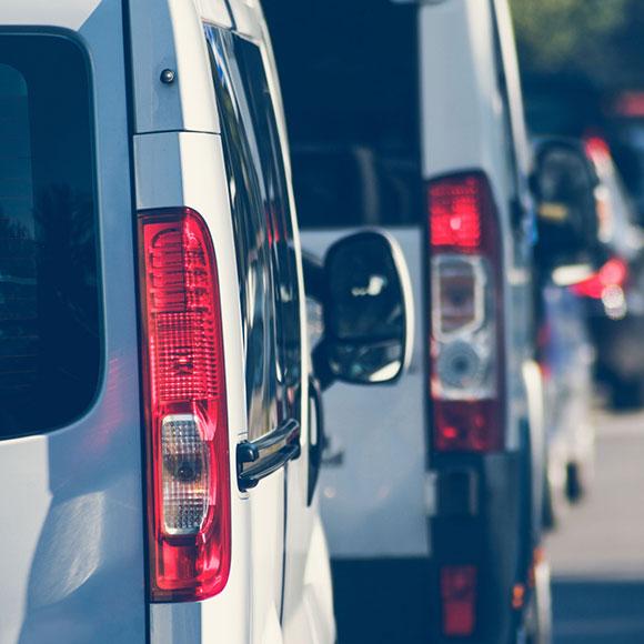 Vans in parking lot