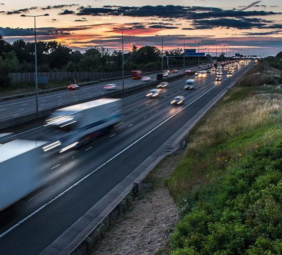 Busy motorway at night