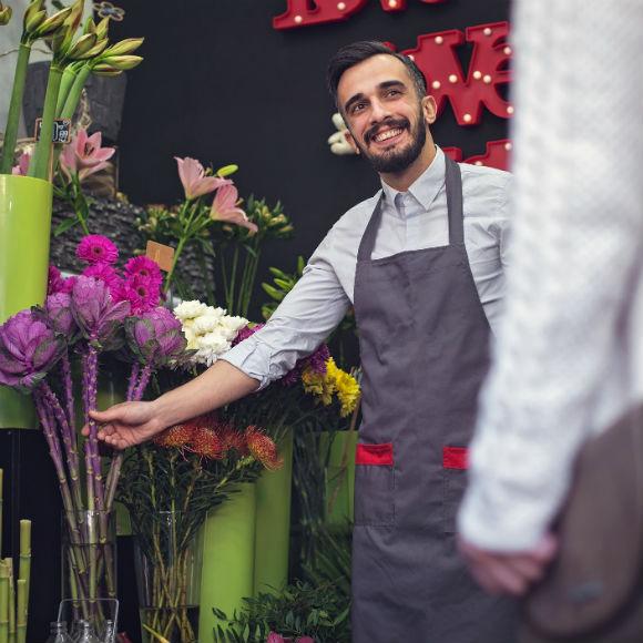 Florist selling his flowers