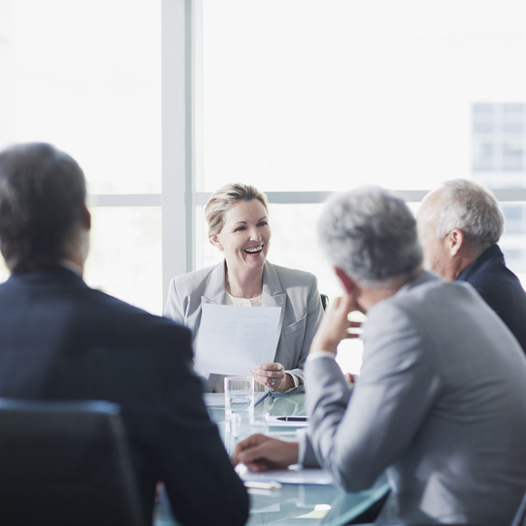 Executives in business meeting