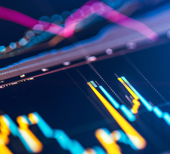 Stock market candle graph with significant bokeh