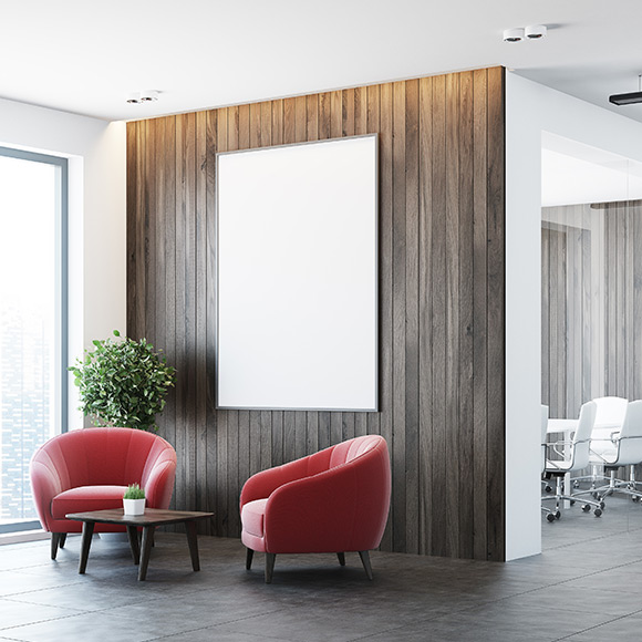 Red chairs in office