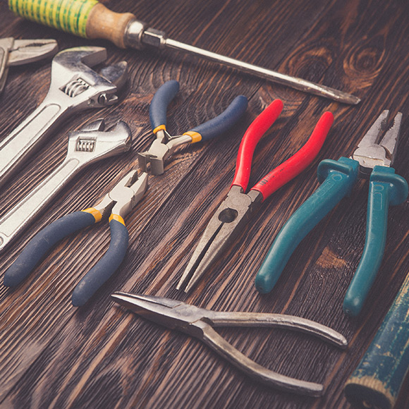 A selection of tools ranging from spanners and screwdrivers to pliers and snips