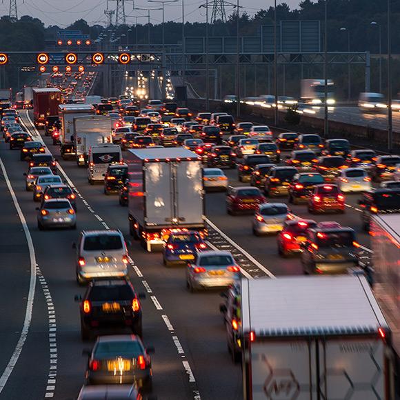 Lots of traffic on variable speed motorway
